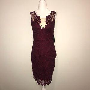 NWT Lulus Burgundy Lace Cocktail Dress